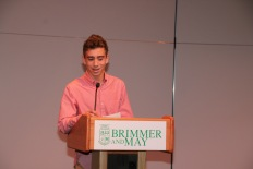 Photo by Jody Weinberg: Sam Lapat '21 delivers address.