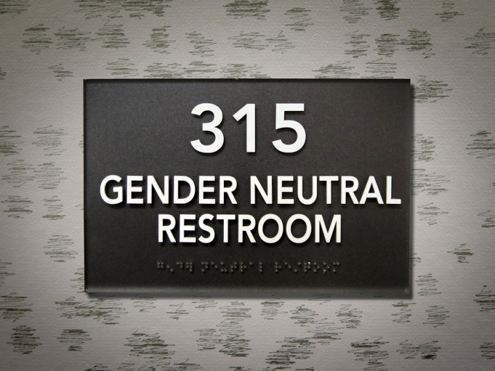 Gender Neutral Bathroom Sign on College Campus