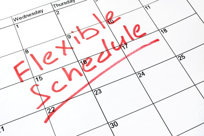 A Flexible schedule written on a calendar.